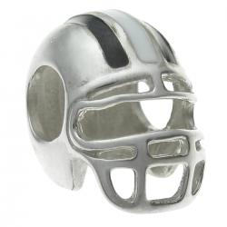 .925 Sterling Silver Football Helmet Enamel Bead for European Charm Bracelets