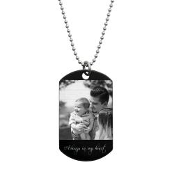 To My Son Fr Dad Love Note Personalized Photo Text Engraved Stainless Steel Custom Dog Tag Military Pendant, 24'' Necklace