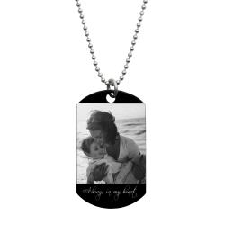 To My Son Fr Mom Love Note Personalized Photo Text Engraved Stainless Steel Custom Dog Tag Military Pendant, 24'' Necklace