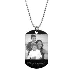 "Stainless Steel One Side Personalized Photo Engraving Custom Dog Tag w/ Dot Ball Chain Necklace 24"" - Handmade"