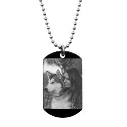"Stainless Steel Personalized Photo + Text Engraving Custom Dog Tag w/ Dot Ball Chain Necklace 24"" - Handmade"