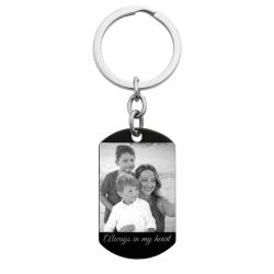Best Mom Stainless Steel Engraved Memorial Text Personalized Photo Dog Tag Keychain