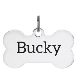 Stainless Steel Personalized Custom Bone Pet Id Tags Dog & Cat Pet Identification w/ Split Ring 50mm