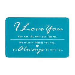 Love You Always Personalized Photo Engraved Blue Metal Wallet Mini Insert Card - Blue