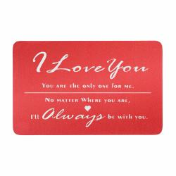 Love You Always Engraved Metal Wallet Mini Insert Card - Red