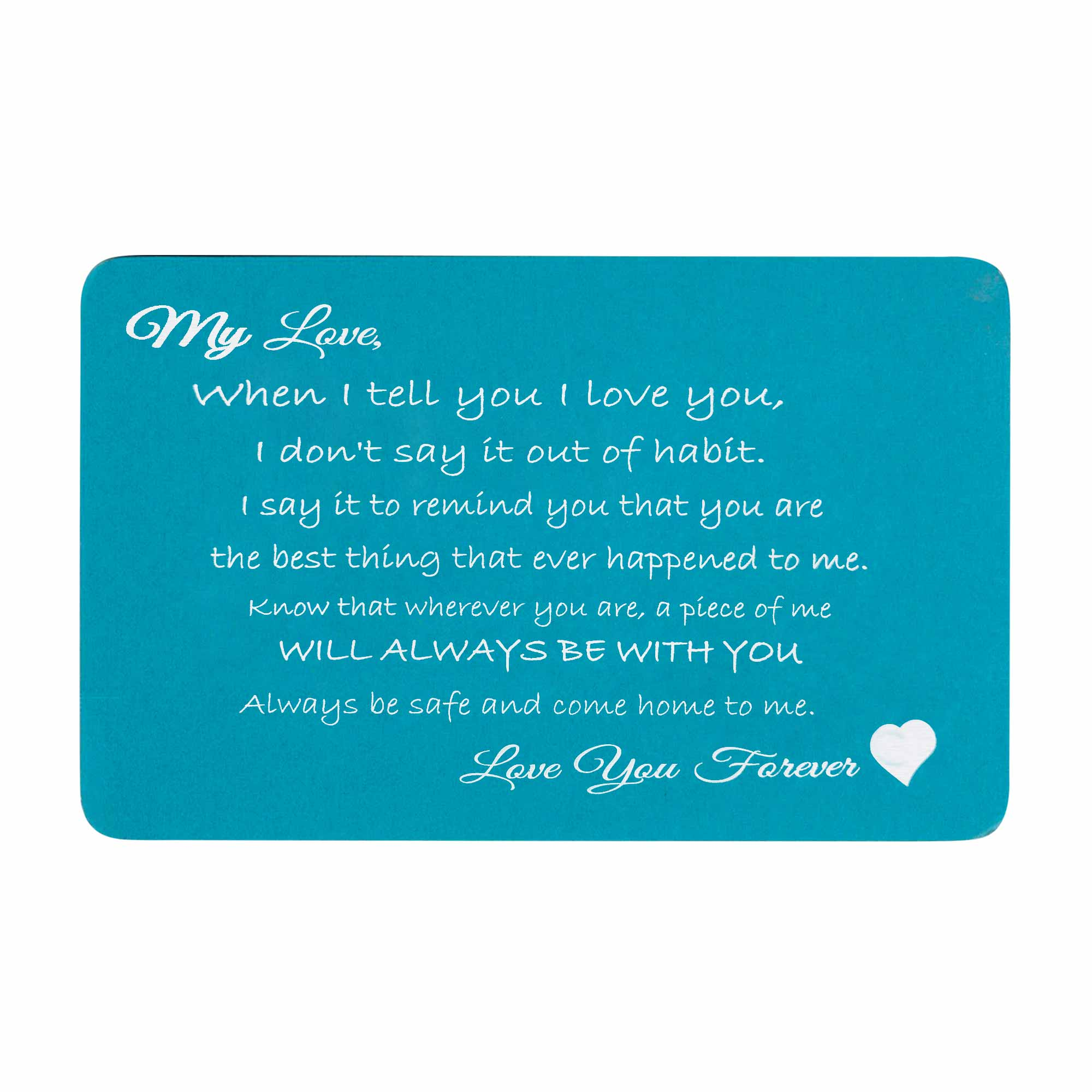 Love You Forever Engraved Metal Wallet Mini Insert Card - Blue