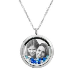 Best Mom Mother Stainless Steel Laser Engraved Personalized Photo & Text Message Floating Locket Crystals Necklace Pendant Blue