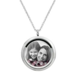 Best Mom Mother Stainless Steel Laser Engraved Personalized Photo & Text Message Floating Locket Crystals Necklace Pendant Purple
