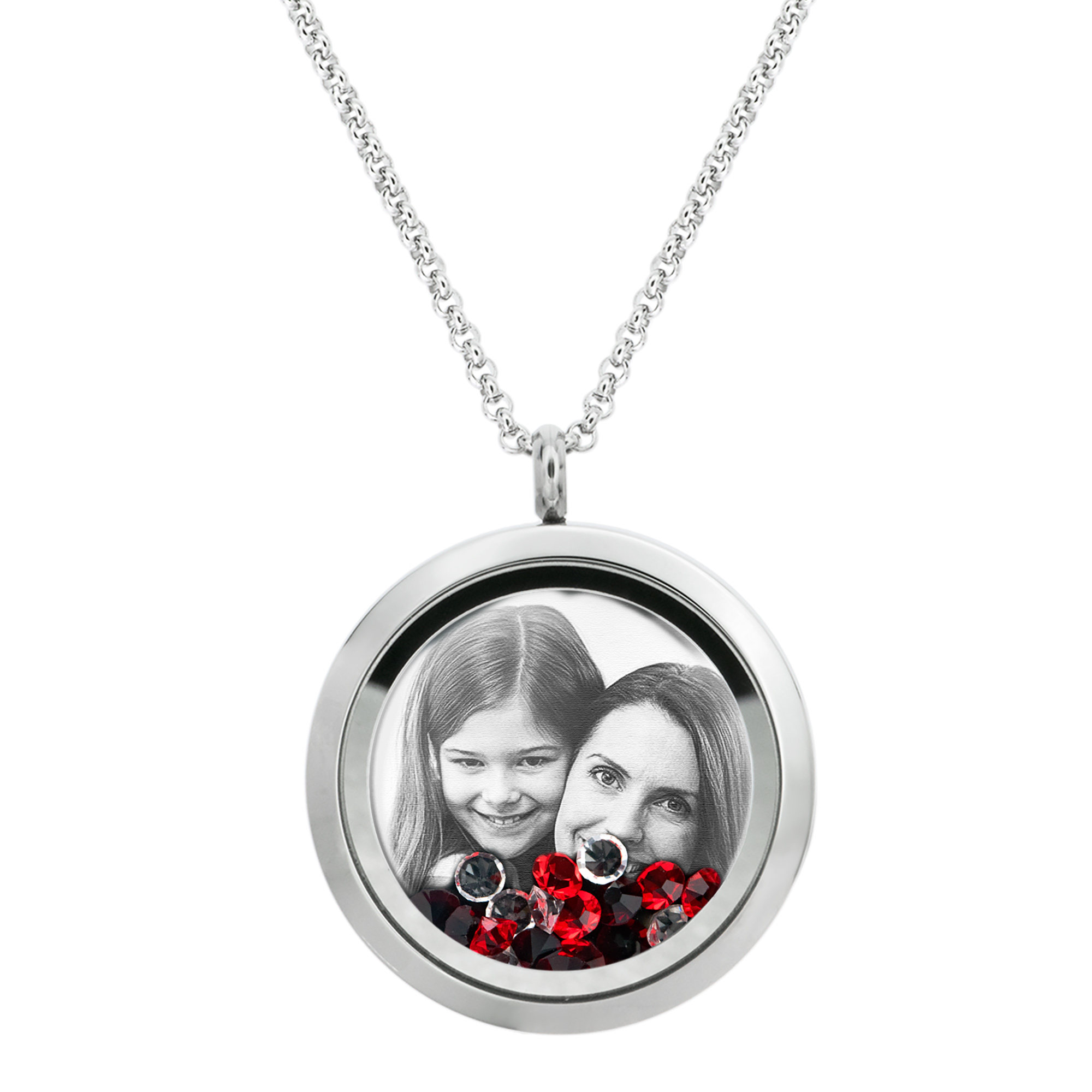 Best Mom Mother Stainless Steel Laser Engraved Personalized Photo & Text Message Floating Locket Crystals Necklace Pendant Red