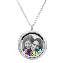 Best Mom Mother Stainless Steel Laser Engraved Personalized Photo & Text Message Floating Locket Crystals Necklace Pendant Mix Colors