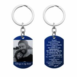 Blue - To My Daughter From Dad Photo/text Engraving Custom Dog Tag Key Chain - Handmade