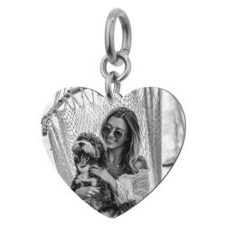 Heart Plate 1 Side Personalized Photo Engraving Pendant Dangle Charm for European Charm Bracelets