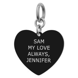 Heart Plate 1 Side Personalized Text Engraving Pendant Dangle Charm for European Charm Bracelets