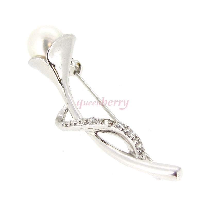 Sterling Silver White Freshwater Pearl Lily Flower w/ CZ Crystal Brooch with Safety Pin 43mm