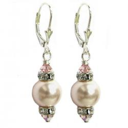 "10mm Rosaline Pink Genuine Swarovski Pearl And Swarovski Crystals Silver Leverback 1.5"" Long Drop Earrings"