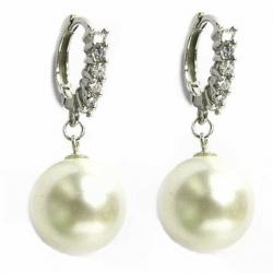 12mm Genuine Swarovski Round White Crystal Pearl Sterling Silver CZ Hoop Dangle Earrings