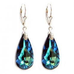 Bermuda Blue Genuine Swarovski Crystals Sterling Silver Leverback Dangle Earrings