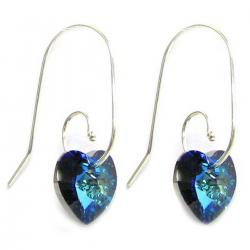 Love Bermuda Blue Heart Sterling Silver Dangle Earrings Swirl Hooks Made with Swarovski Elements Crystals
