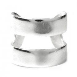 .925 Sterling Silver Round Double Ring Cuff Earring / Clip-on Ear Wrap
