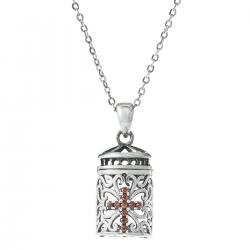 "925 Sterling Silver Christian Cross Red CZ Crystal Dangle Locket Box Pendant Rolo Chain Necklace 16""+2"" Extender"