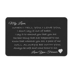 Love You Forever Engraved Metal Wallet Mini Insert Card