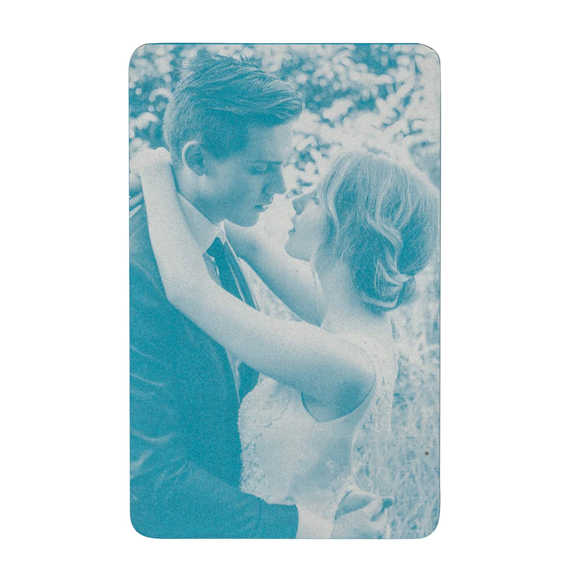 Personalized Photo / Text Custom Engraved Aluminum Wallet Mini Love Insert Card - Blue