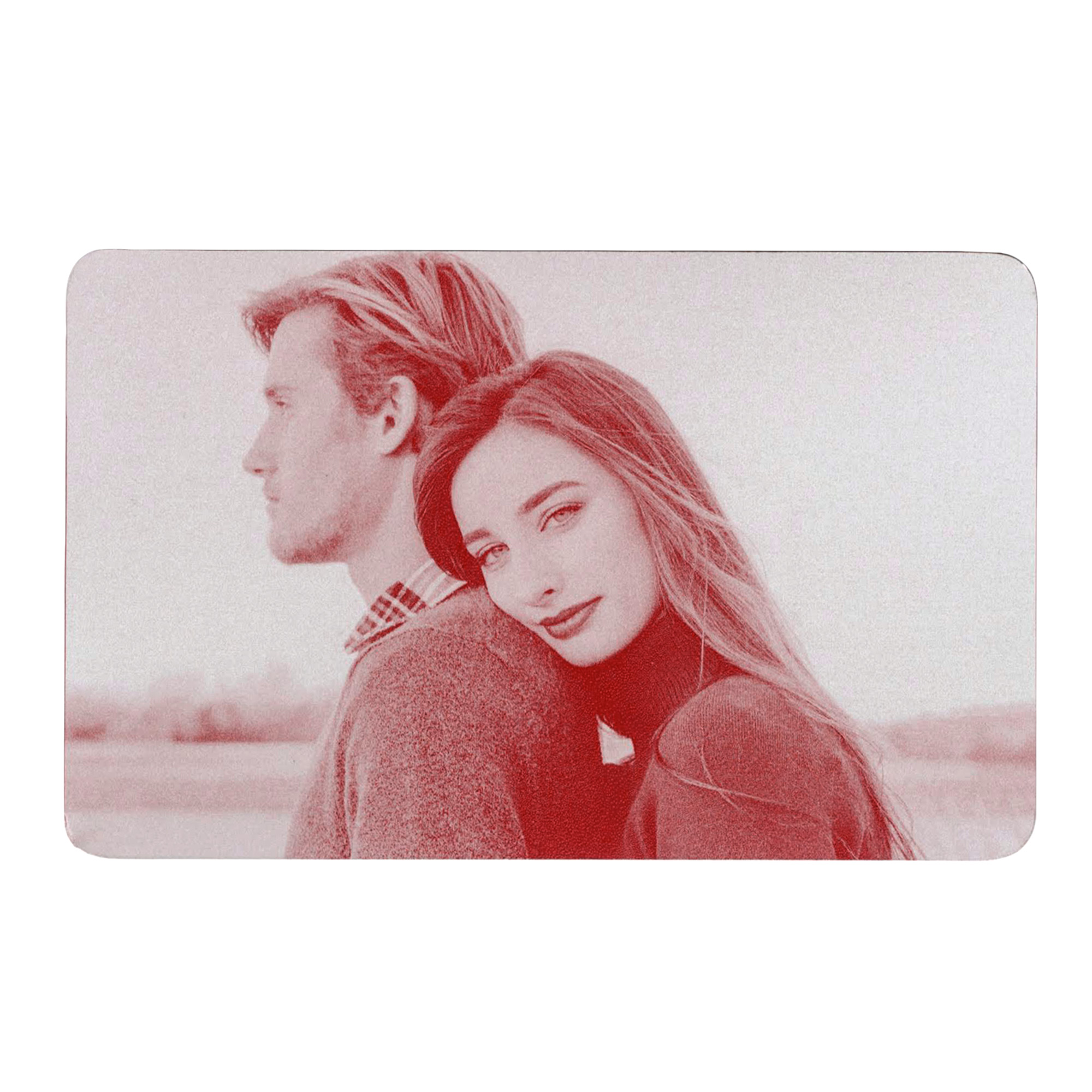 Personalized Photo / Text Custom Engraved Aluminum Wallet Mini Love Insert Card - Red