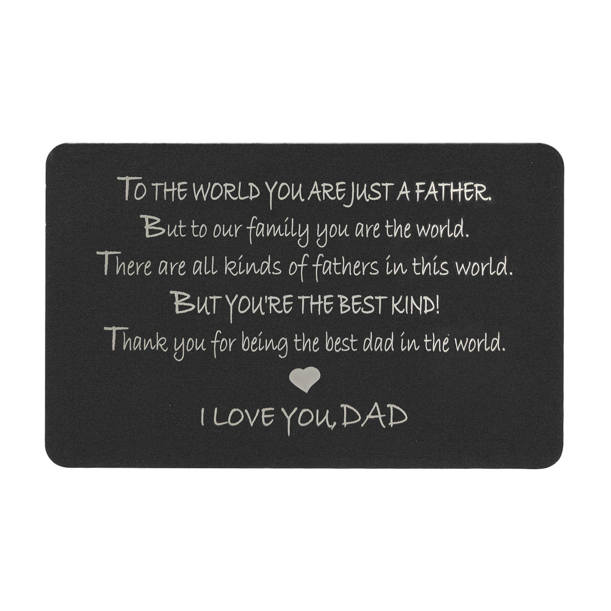"Anodized Aluminum Black Engraved Wallet Insert Father ""I Love You Dad\"" Mini Love Gift Note Card"