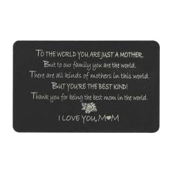 "Anodized Aluminum Black Engrave Metal Wallet Insert Mother ""I Love You Mom"" Mini Love Gift Note Card"