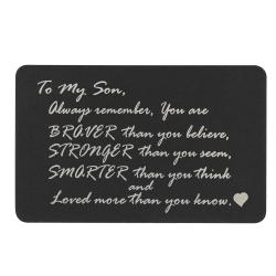 "Anodized Aluminum Black Engrave Metal Wallet Insert Son ""Braver Stronger Smarter"" Mini Love Gift Note Card"