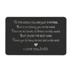 "Anodized Aluminum Black Father ""I Love You Dad"" Personalized Photo Custom Engrave Metal Wallet Mini Love Insert Gift Note Card"