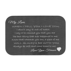 Stainless Steel Love You Forever Engraved Metal Wallet Mini Love Insert Note Card