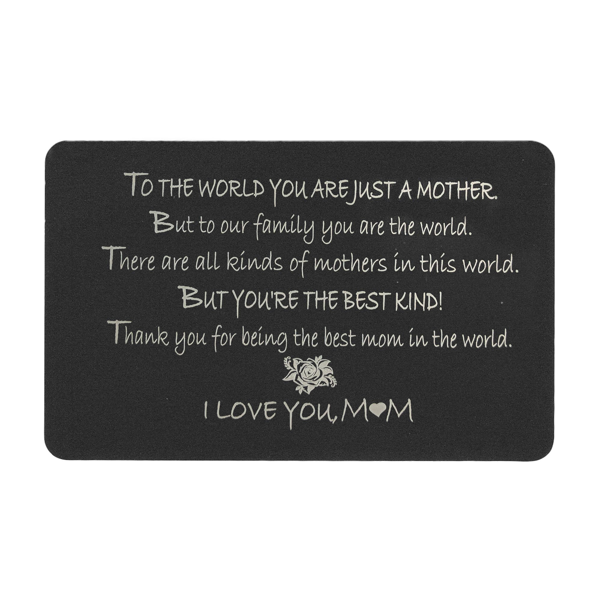 "Anodized Aluminum Black Mother ""I Love You Mom\"" Personalized Photo Custom Engrave Metal Wallet Mini Love Insert Gift Note Card"