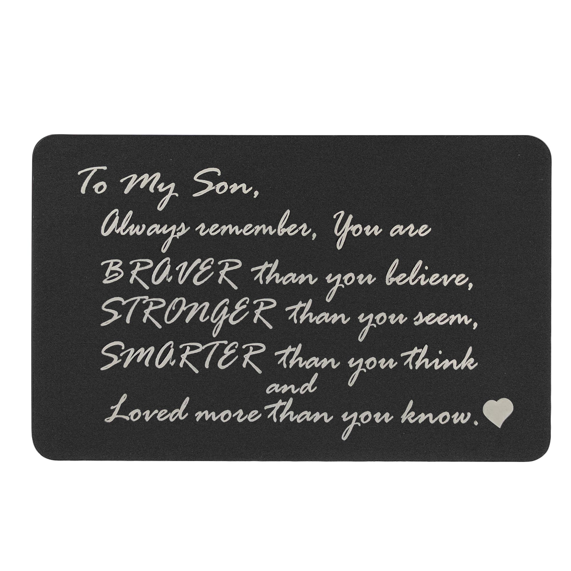 Braver Stronger Smarter Son Personalized Photo Custom Engrave Metal Wallet Mini Love Insert Gift Note Card