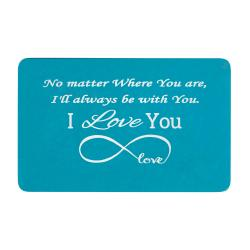 Aluminum Blue Infinity Love Personalized Text Engrave Metal Wallet Mini Love Insert Gift Note Card