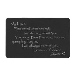 Anodized Aluminum Black Words Cannot Express Love You Forever Personalized Text Custom Engrave Metal Wallet Mini Love Insert Gift Note Card
