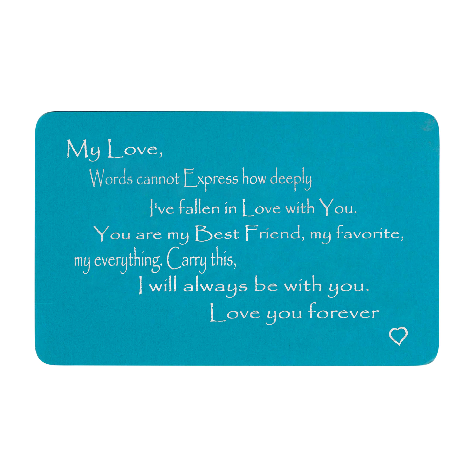 Anodized Aluminum Blue Words Cannot Express Love You Forever Personalized Text Engrave Metal Wallet Mini Love Insert Gift Note Card