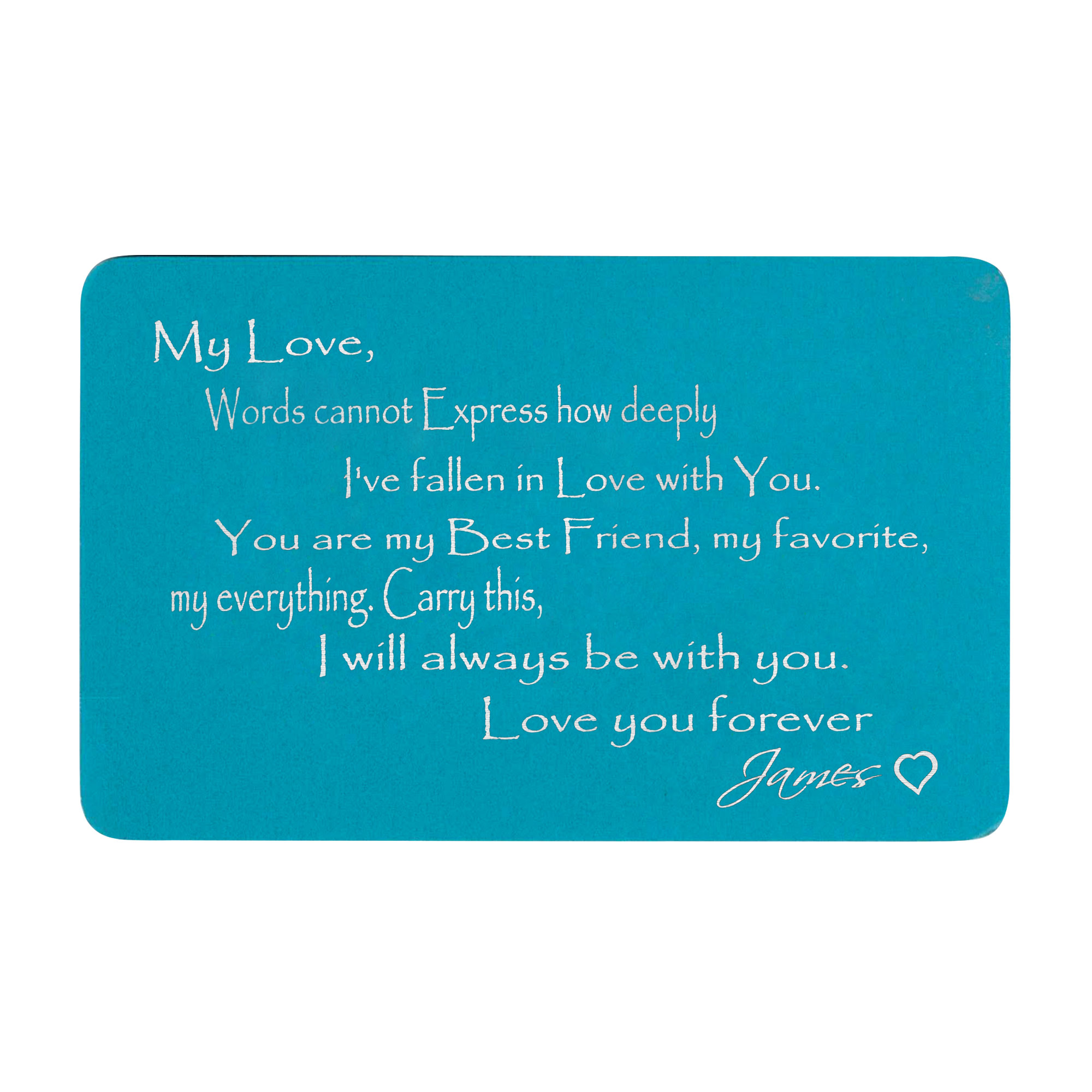 Anodized Aluminum Blue Words Cannot Express Love You Forever Personalized Text Custom Engrave Metal Wallet Mini Love Insert Gift Note Card