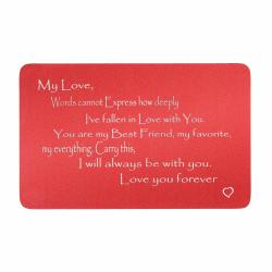 Anodized Aluminum Red Words Cannot Express Love You Forever Personalized Text Custom Engrave Metal Wallet Mini Love Insert Gift Note Card