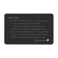 Anodized Aluminum Black When I Tell U I Love U Personalized Text Custom Engrave Metal Wallet Mini Love Insert Gift Note Card