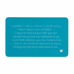 Aluminum Blue When I Tell U I Love U Personalized Text Engrave Metal Wallet Mini Love Insert Gift Note Card