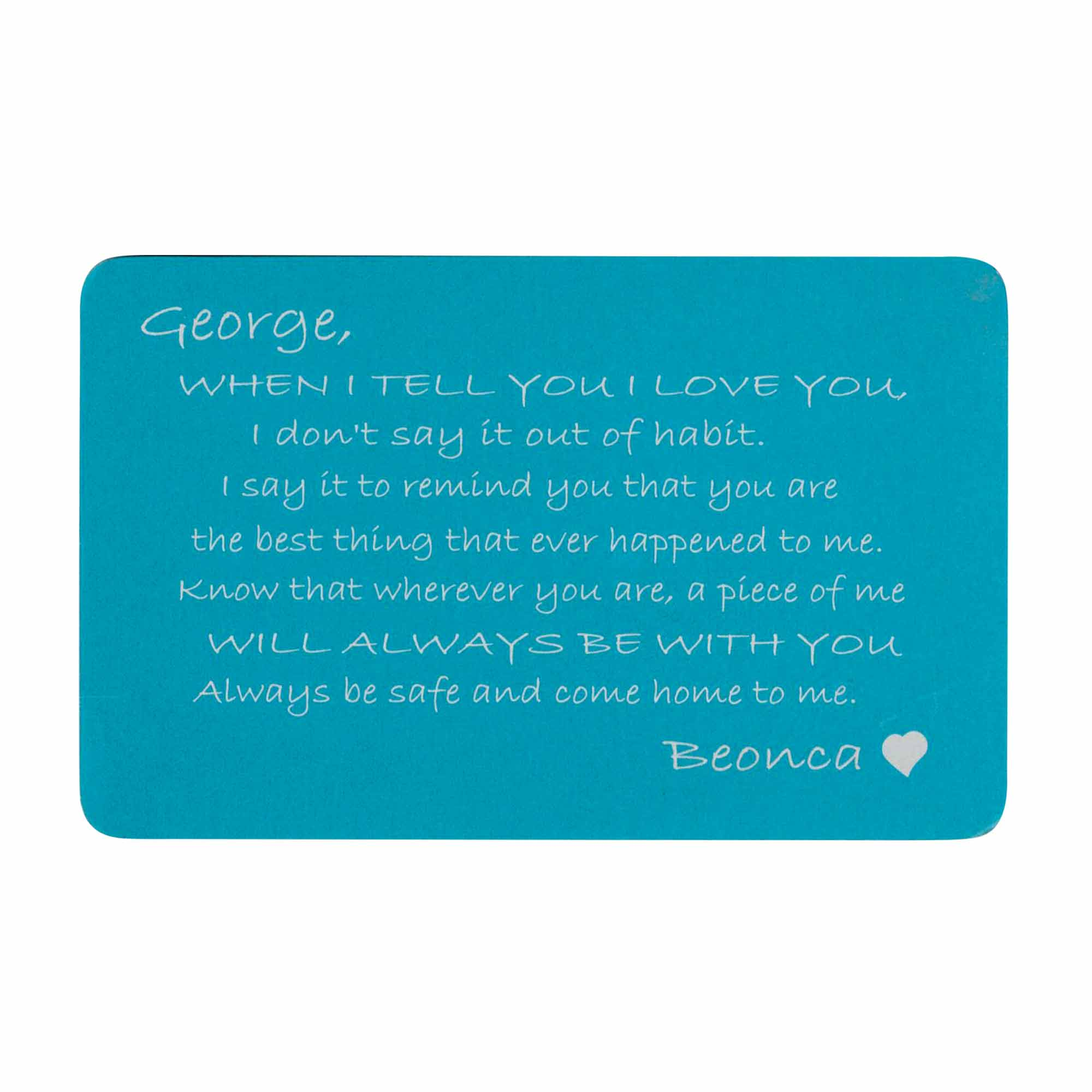 Anodized Aluminum Blue When I Tell U I Love U Personalized Text Custom Engrave Metal Wallet Mini Love Insert Gift Note Card