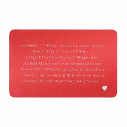 Aluminum Red When I Tell U I Love U Personalized Text Engrave Metal Wallet Mini Love Insert Gift Note Card