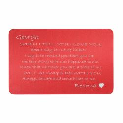 Anodized Aluminum Red When I Tell U I Love U Personalized Text Custom Engrave Metal Wallet Mini Love Insert Gift Note Card