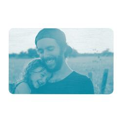 Aluminum Engraved Best Dad Ever Personalized Photo Wallet Card From Daughter Blue