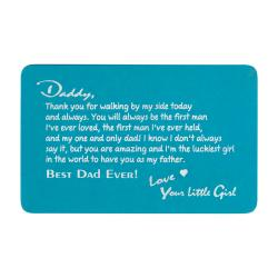 Aluminum Engraved Best Dad Ever Personalized Wallet Card From Daughter Blue