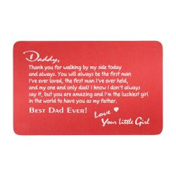 Aluminum Engraved Best Dad Ever Personalized Photo Wallet Card From Daughter Red