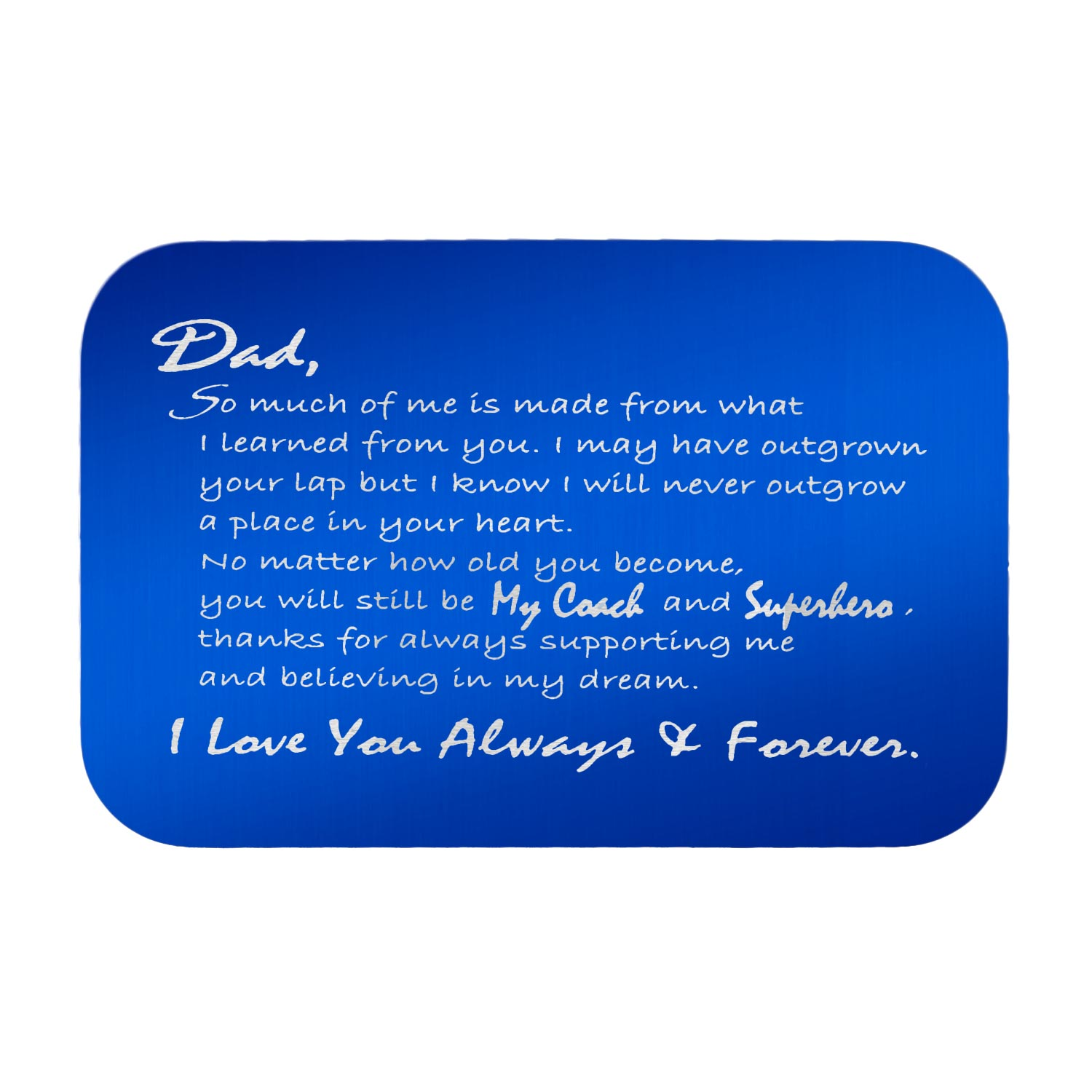 Stainless Steel Engraved Personalized Text Superhero Coach Dad Wallet Card Father\'s Day Birthday Gift Blue