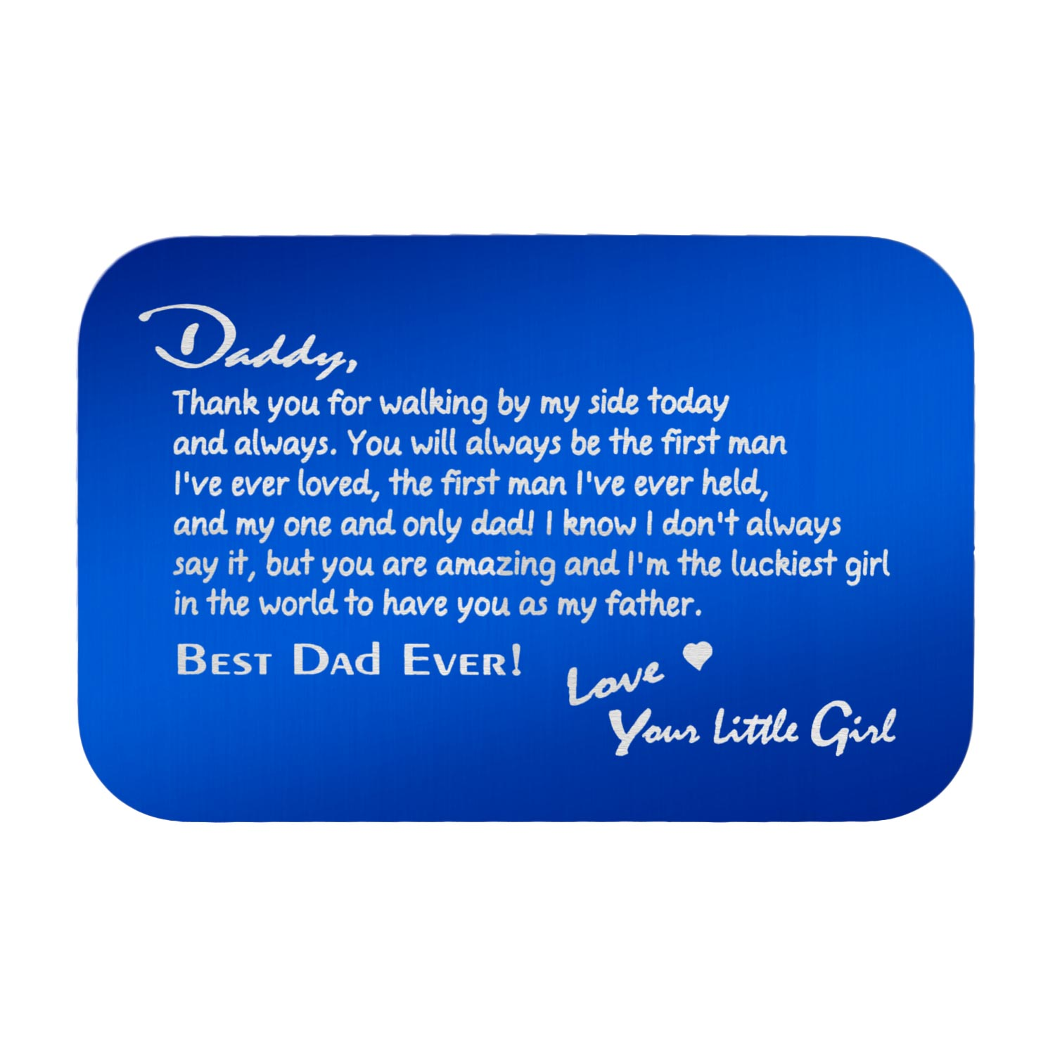 Stainless Steel Personalized Text Engraved Best Dad Wallet Card Father\'s Day Birthday Gift Blue