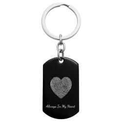 Stainless Steel Personalized Fingerprint + Backside Text Engraving Custom Dog Tag Key Chain